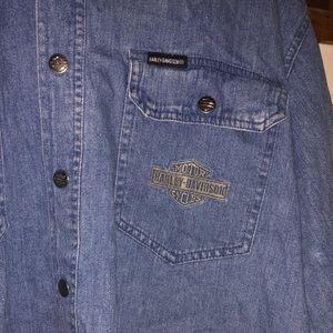 Harley-Davidson Shirts - men's harley davidson denim button-up